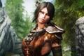 Картинка взгляд, девушка, воин, The Elder Scrolls V Skyrim, расскраска