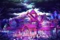 Картинка деревья, дом, фантастика, арт, фонари, особняк