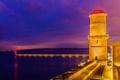 Картинка море, ночь, огни, побережье, Франция, маяк, освещение