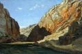 Картинка пейзаж, горы, скалы, картина, Карлос де Хаэс, Ущелье Хараба в Арагоне