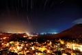 Картинка небо, звезды, ночь, город, огни, съемка