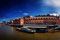 Картинка город, река, фото, дома, яхта, Германия, Гамбург