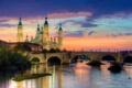Картинка закат, мост, город, река, фото, рассвет, Испания