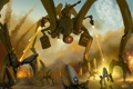 Картинка небо, огонь, планета, Робот, нападение, выстрелы, инопланетяне