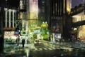 Картинка город, люди, Stranglehold, арт, ночь, машины, огни