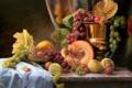 Картинка листья, ягоды, стол, яблоки, картина, чаша, виноград