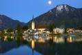 Картинка горы, природа, город, озеро, отражение, дома