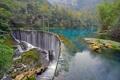 Картинка landscape, лес, река, emerald, stream, waterfall, водопад