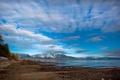 Картинка море, небо, облака, снег, пейзаж, горы, природа