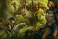 Картинка лес, кошка, оружие, девушки, хищник, арт, битва