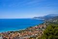 Картинка море, горы, побережье, Франция, дома, горизонт, Cannes