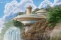 Картинка деревья, скалы, здание, водопад, арт