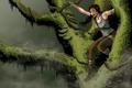 Картинка взгляд, девушка, ветки, лицо, дерево, волосы, игра