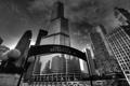 Картинка небо, тучи, город, здание, небоскребы, Чикаго, черно-белое