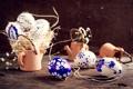 Картинка цветы, яйца, посуда, корзинка, роспись