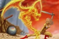 Картинка фантастика, огненный дракон, арт, девушка, меч, оружие