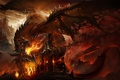Картинка огонь, арт, Dragon Age Inquisition, башня, дракон