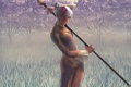 Картинка трава, девушка, деревья, оружие, платье, арт, дымка