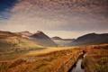Картинка долина, трава, небо, мостик, горы, канал