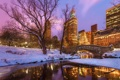 Картинка зима, снег, деревья, закат, мост, озеро, отражение