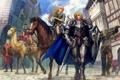 Картинка Девушка, лошади, небо, дома, рыцари, улица, собака