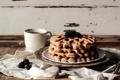 Картинка вафли, ежевика, напиток, завтрак, чашка, ягоды