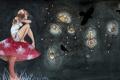 Картинка девушка, птицы, мухомор