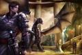 Картинка девушка, дракон, меч, воин, фэнтези, арт, охрана