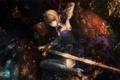 Картинка девушка, меч, кресло, аниме, арт, блондинка, лежит
