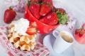Картинка кофе, завтрак, клубника, крем, вафли, strawberry, coffee