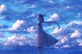 Картинка небо, девушка, облака, улыбка, аниме, арт, рога