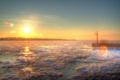 Картинка лед, небо, солнце, снег, закат, природа, река
