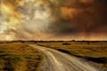 Картинка дорога, поле, облака