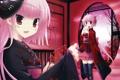 Картинка взгляд, девушки, комната, аниме, бантики, маски, юкаты