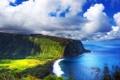 Картинка море, небо, облака, деревья, гора, мыс
