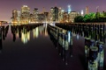 Картинка ночь, город, река, опоры