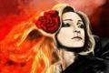 Картинка роза, цветок, лицо, огонь, блондинка, арт, девушка