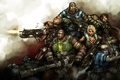Картинка кровь, монстр, Gears of War, выстрелы, отряд, Marсus Fenix