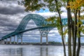 Картинка небо, деревья, мост, река, hdr, Канада, canada
