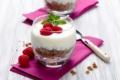 Картинка малина, орехи, мята, десерт, йогурт