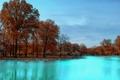 Картинка осень, небо, вода, деревья, парк