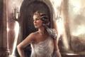 Картинка девушка, свет, свечи, арт, прическа, колонны, в белом
