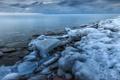 Картинка лед, зима, вода, озеро, камни, Канада, Онтарио