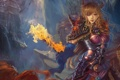 Картинка девушка, город, огонь, магия, арт, рога