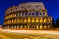 Картинка дорога, ночь, город, вечер, выдержка, Рим, Колизей