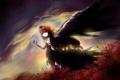Картинка небо, девушка, облака, крылья, аниме, арт, бант