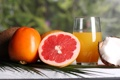 Картинка кокос, сок, фрукты, грейпфрут, хурма, апельсиновый