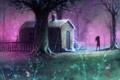 Картинка пейзаж, moon harvest, арт, силуэт, дом, дерево