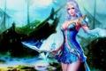 Картинка девушка, украшения, магия, корабль, фэнтези, арт, кинжал