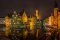 Картинка небо, ночь, огни, дома, канал, Бельгия, Брюгге